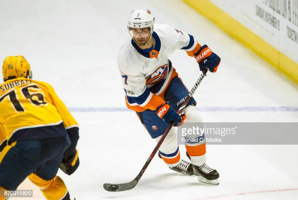 Jordan Eberle of the New York Islanders skates against the Nashville Predators during an NHL game at Bridgestone Arena on October 28 2017 in...