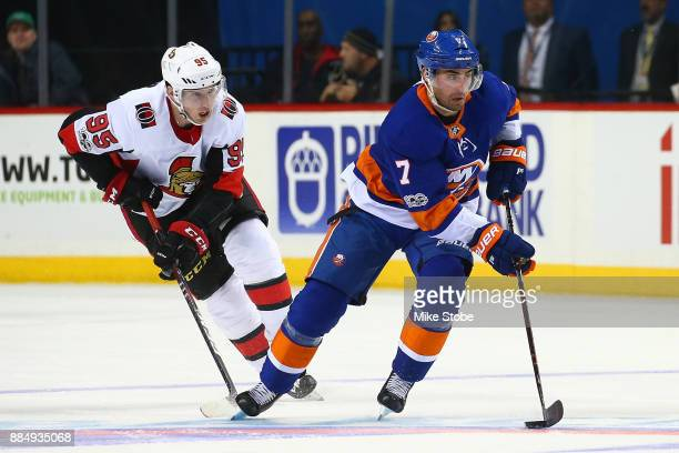 Jordan Eberle of the New York Islanders skates against the Ottawa Senators at Barclays Center on December 1 2017 in New York City Ottawa Senators...