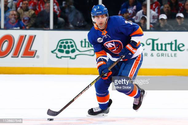 Jordan Eberle of the New York Islanders skates against the Washington Capitals at NYCB Live's Nassau Coliseum on March 1 2019 in Uniondale New York...