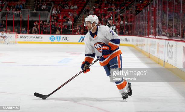 Jordan Eberle of the New York Islanders skates with the puck during an NHL game against the Carolina Hurricanes on November 19 2017 at PNC Arena in...