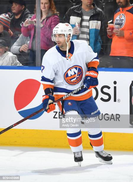 Jordan Eberle of the New York Islanders warms up prior to the game against the Edmonton Oilers on March 8 2018 at Rogers Place in Edmonton Alberta...