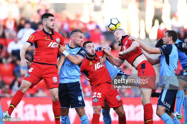 Jordan Elsey of Adelaide United gets a head to a free kick at goal during the round 16 ALeague match between Adelaide United and Sydney FC at Coopers...