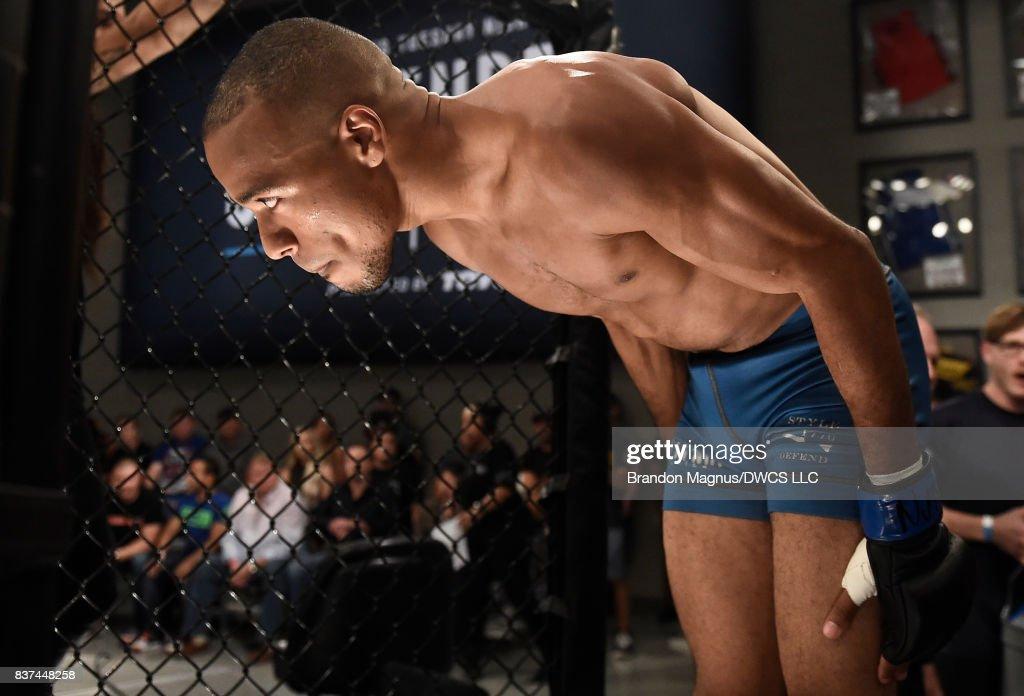 Jordan Espinosa prepares to enter the Octagon prior to his flyweight bout against Nick Urso during Dana White's Tuesday Night Contender Series at the TUF Gym on August 22, 2017 in Las Vegas, Nevada.