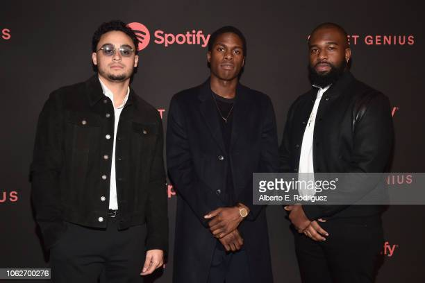 Jordan Evans Daniel Caesar Matthew Burnett attend Spotify's Secret Genius Awards hosted by NEYO at The Theatre at Ace Hotel on November 16 2018 in...