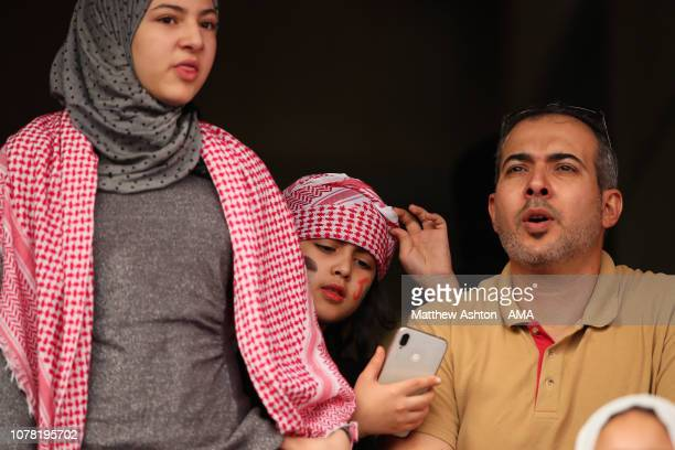 Jordan fans look on during the AFC Asian Cup Group B match between Australia and Jordan at Hazza Bin Zayed Stadium on January 6 2019 in Al Ain United...