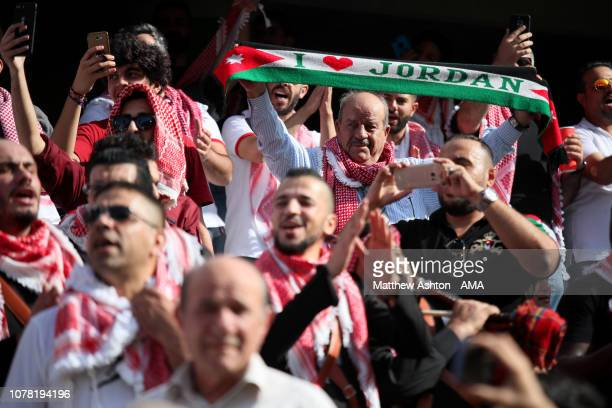 Jordan fans show their support during the AFC Asian Cup Group B match between Australia and Jordan at Hazza Bin Zayed Stadium on January 6 2019 in Al...