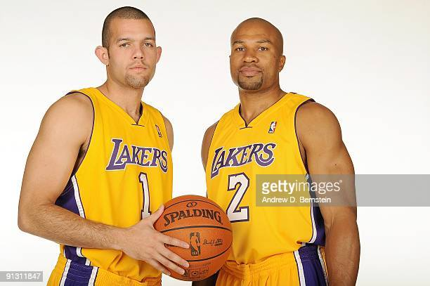 Jordan Farmar and Derek Fisher of the Los Angeles Lakers pose for a portrait during 2009 NBA Media Day on September 29 2009 at Toyota Sports Center...