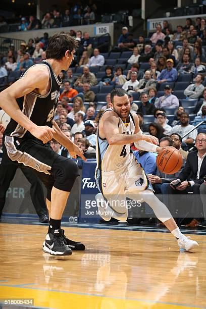 Jordan Farmar handles the ball against the San Antonio Spurs on March 28 2016 at FedExForum in Memphis Tennessee NOTE TO USER User expressly...