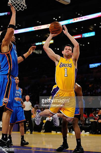 87cb3cdf3cc9a4 Jordan Farmar of the Los Angeles Lakers goes up for a shot against the Oklahoma  City. Oklahoma City Thunder v ...