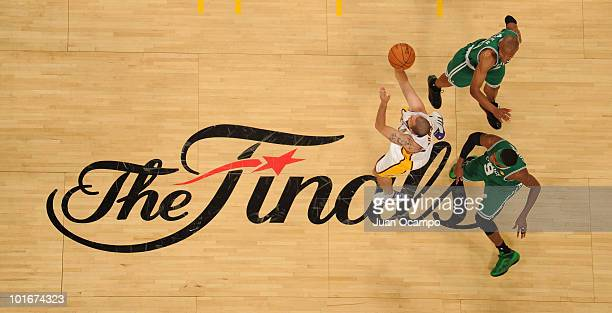 Jordan Farmar of the Los Angeles Lakers shoots against the Boston Celtics in Game Two of the 2010 NBA Finals on June 6 2010 at Staples Center in Los...