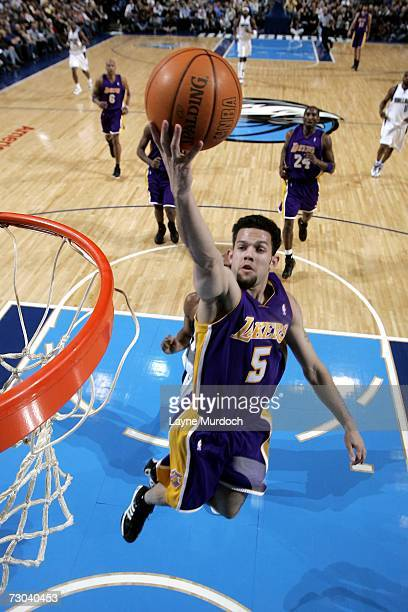 Jordan Farmar of the Los Angeles Lakers shoots the ball against the Dallas Mavericks on January 18 2007 at the American Airlines Center in Dallas...