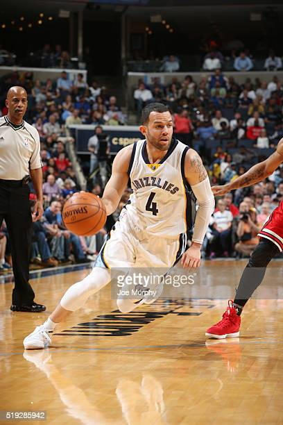 Jordan Farmar of the Memphis Grizzlies handles the ball against the Chicago Bulls on April 5 2016 at FedExForum in Memphis Tennessee NOTE TO USER...