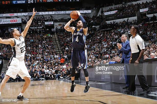 Jordan Farmar of the Memphis Grizzlies shoots against Kevin Martin of the San Antonio Spurs in Game Two of the Western Conference Quarterfinals...