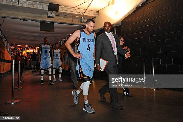 Jordan Farmar of the Memphis Grizzlies walks to the locker room after the game against the Los Angeles Lakers at STAPLES Center on March 22 2016 in...
