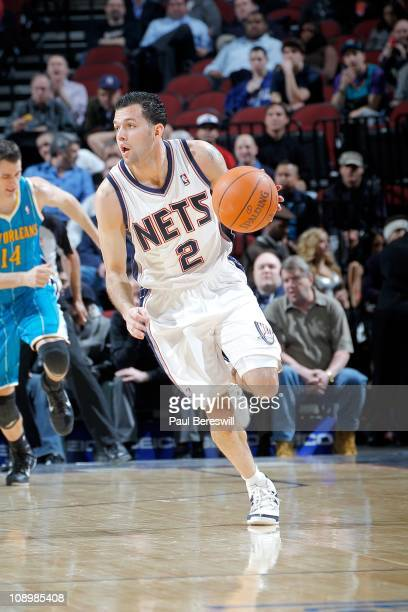Jordan Farmar of the New Jersey Nets moves the ball against the New Orleans Hornets on February 9 2011 at the Prudential Center in Newark New Jersey...