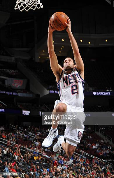 Jordan Farmar of the New Jersey Nets takes a shot during the second half against the Indiana Pacers on January 2 2012 at the Prudential Center in...