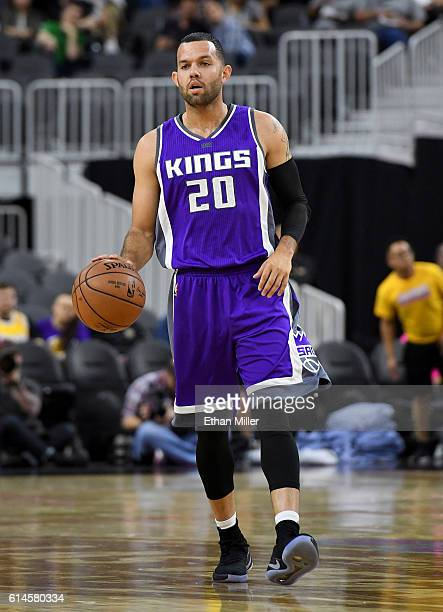 Jordan Farmar of the Sacramento Kings brings the ball up the court during a preseason game against the Los Angeles Lakers at TMobile Arena on October...