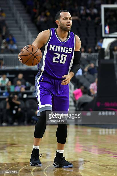 Jordan Farmar of the Sacramento Kings brings the ball up the court against the Los Angeles Lakers during their preseason game at TMobile Arena on...
