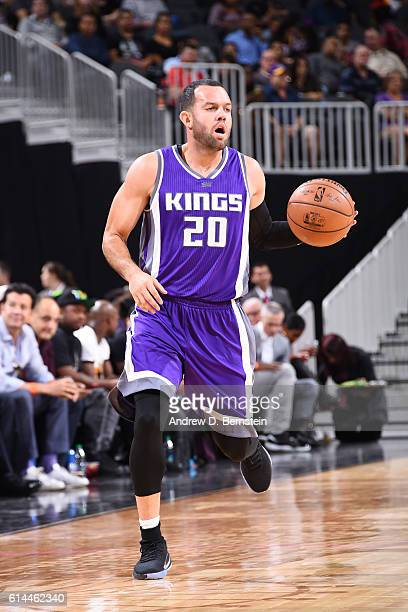 Jordan Farmar of the Sacramento Kings handles the ball against the Los Angeles Lakers on October 13 2016 at the TMobile Arena in Las Vegas Nevada...