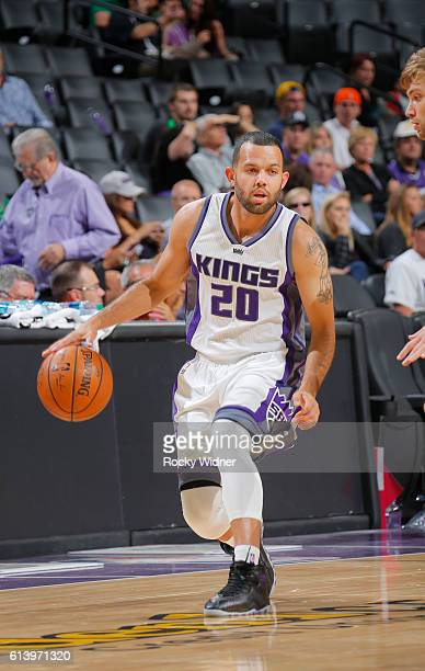 Jordan Farmar of the Sacramento Kings handles the ball during a preseason game against the Maccabi Haifa on October 10 2016 at Golden 1 Center in...