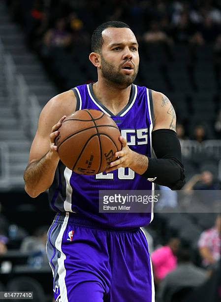 Jordan Farmar of the Sacramento Kings looks to pass against the Los Angeles Lakers during their preseason game at TMobile Arena on October 13 2016 in...