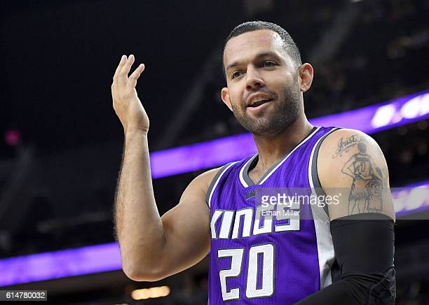 Jordan Farmar of the Sacramento Kings reacts to an official's call during their preseason game against the Los Angeles Lakers at TMobile Arena on...