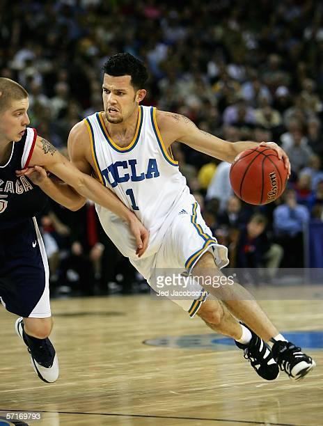 Jordan Farmar of the UCLA Bruins drives against Derek Raivio of the Gonzaga Bulldogs during the third round game of the NCAA Division I Men's...