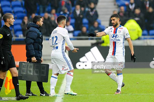 Jordan FERRI and Nabil FEKIR of Lyon during the French Ligue 1 match between Lyon and Rennes at Stade des Lumieres on December 11 2016 in Decimes...