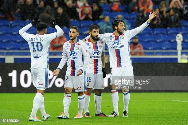 Jordan Ferri and team of Lyon celebrates scoring second goal during the Ligue 1 match between Olympique Lyonnais and SC Bastia at Stade de Gerland on...