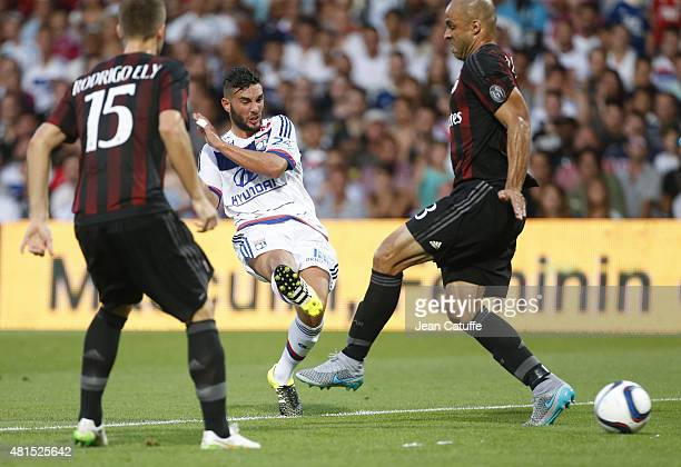 Jordan Ferri of Lyon and Alex Rodrigo Dias da Costa of AC Milan in action during the friendly match between Olympique Lyonnais and AC Milan at Stade...