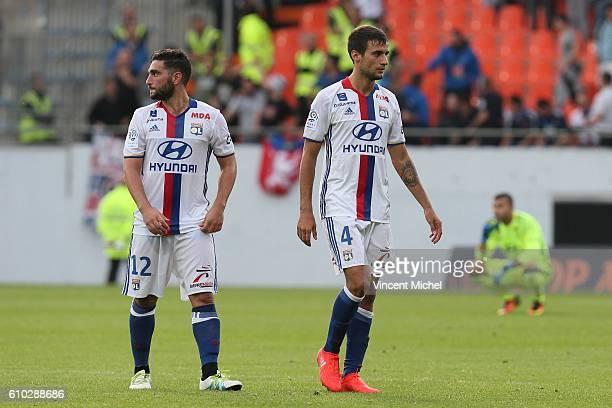 Jordan Ferri of Lyon and Emanuel Mammana of Lyon during the Ligue 1 match between FC Lorient and Olympique Lyonnais at Stade du Moustoir on September...