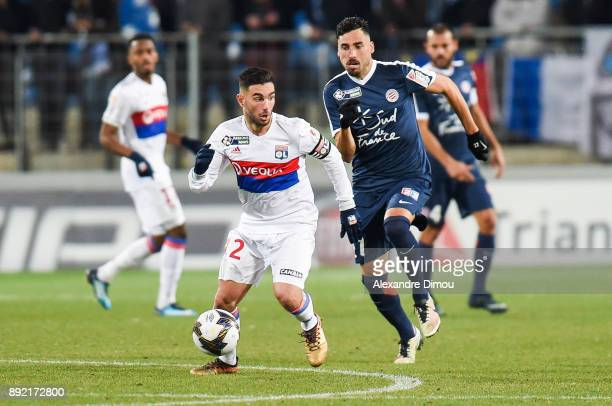 Jordan Ferri of Lyon and Facundo Piriz of Montpellier during the french League Cup match Round of 16 between Montpellier and Lyon on December 13 2017...