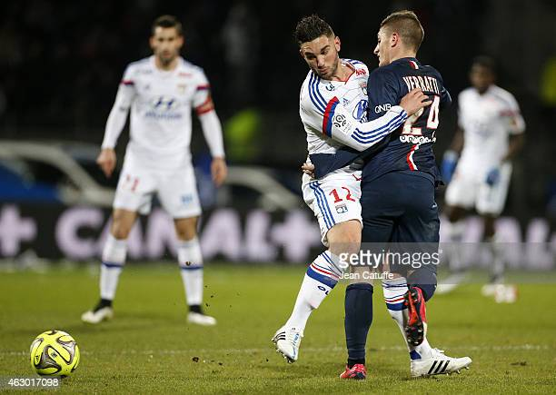 Jordan Ferri of Lyon and Marco Verratti of PSG in action during the French Ligue 1 match between Olympique Lyonnais and Paris SaintGermain FC at...