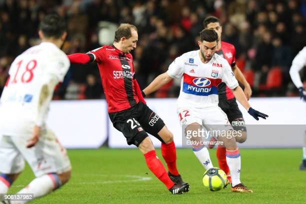 Jordan Ferri of Lyon and Thibault Giresse of Guingamp during the Ligue 1 match between EA Guingamp and Olympique Lyonnais at Stade du Roudourou on...