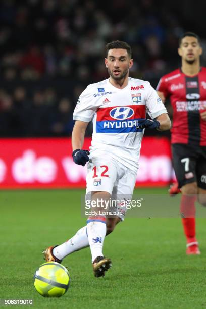 Jordan Ferri of Lyon during the Ligue 1 match between EA Guingamp and Olympique Lyonnais at Stade du Roudourou on January 17 2018 in Guingamp