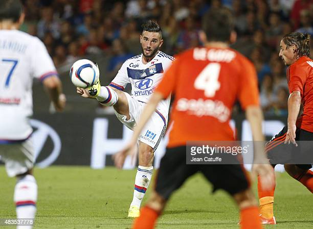 Jordan Ferri of Lyon in action during the French Ligue 1 match between Olympique Lyonnais and FC Lorient at Stade de Gerland on August 9 2015 in Lyon...