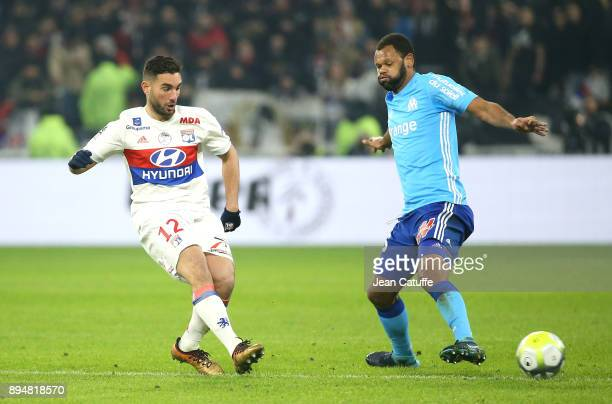 Jordan Ferri of Lyon Rolando Fonseca of OM during the French Ligue 1 match between Olympique Lyonnais and Olympique de Marseille at Groupama Stadium...