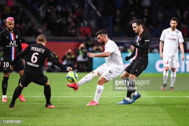 Jordan FERRI of Montpellier and Pablo SARABIA of PSG during the Ligue 1 match between Paris and Montpellier at Parc des Princes on February 1 2020 in...