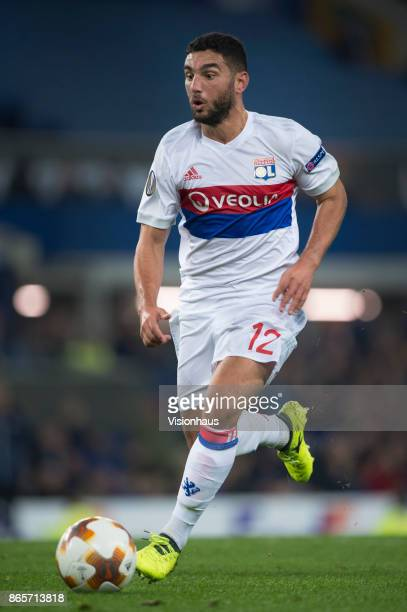 Jordan Ferri of Olympique Lyon in action during the UEFA Europa League group E match between Everton FC and Olympique Lyon at Goodison Park on...