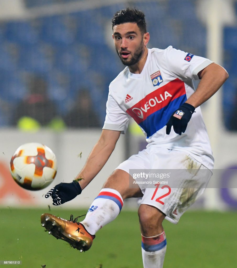Jordan Ferri of Olympique Lyon in action during the UEFA Europa League group E match between Atalanta and Olympique Lyon at Mapei Stadium - Citta' del Tricolore on December 7, 2017 in Reggio nell'Emilia, Italy.