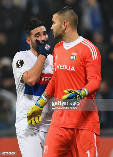 Jordan Ferri of Olympique Lyon talks to Anthony Lopes of Olympique Lyon during the UEFA Europa League group E match between Atalanta and Olympique...