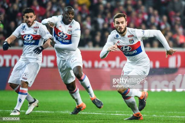 Jordan Ferri Tanguy Ndombele and Lucas Tousart of Lyon during the Ligue 1 match between Lille OSC and Olympique Lyonnais at Stade Pierre Mauroy on...