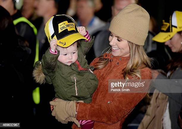 Jordan Fish and daughter Taylor Hamlin celebrate in victory lane after Denny Hamlin driver of the FedEx Express Toyota won the NASCAR Sprint Cup...