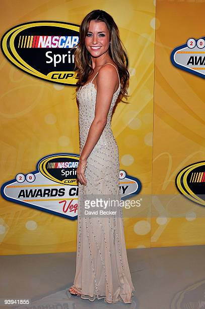 Jordan Fish girlfriend of NASCAR driver Denny Hamlin poses on the red carpet for the NASCAR Sprint Cup Series awards banquet during the final day of...