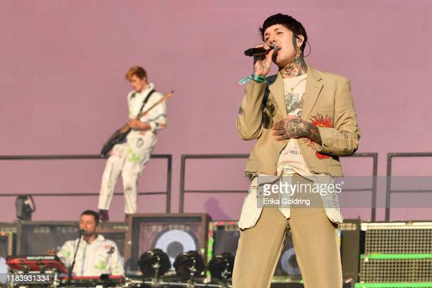 Jordan Fish, Matt Kean and Oliver Sykes of Bring Me The Horizon perform during Voodoo Music & Arts Experience at City Park on October 27, 2019 in New...