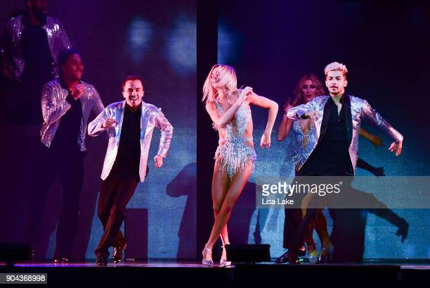 Jordan Fisher Lindsay Arnold and Frankie Muniz perform on stage during Dancing with the Stars Live at Sands Bethlehem Event Center on January 12 2018...