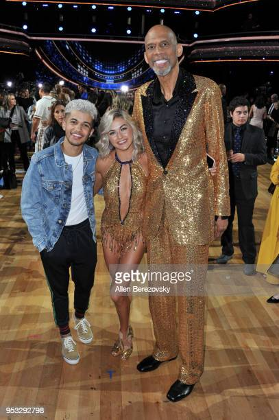 Jordan Fisher Lindsay Arnold and Kareem AbdulJabbar attend ABC's Dancing With The Stars Athletes Season 26 show on April 30 2018 in Los Angeles...