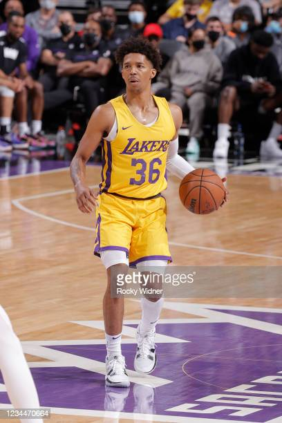 Jordan Floyd of the Los Angeles Lakers dribbles the ball against the Sacramento Kings during the 2021 California Classic Summer League on August 4,...