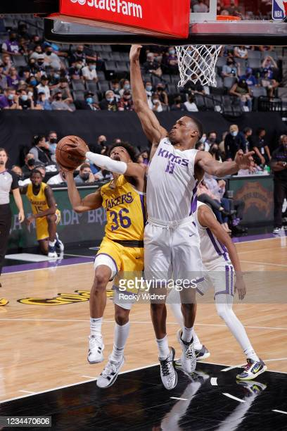 Jordan Floyd of the Los Angeles Lakers drives to the basket against the Sacramento Kings during the 2021 California Classic Summer League on August...