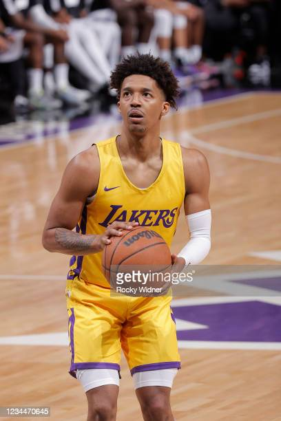 Jordan Floyd of the Los Angeles Lakers shoots a free throw against the Sacramento Kings during the 2021 California Classic Summer League on August 4,...